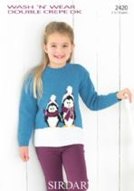 Sirdar Wash 'n Wear Double Crepe - 2420 Penguin Sweater Knitting Pattern